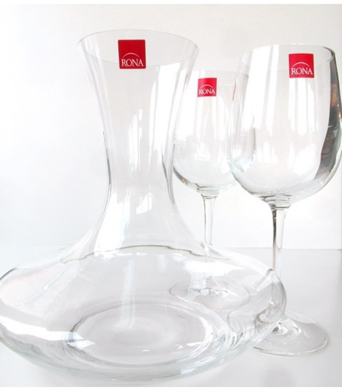 Karafa a 2 poháre Caraffe 2 glass RONA sklo 3 for 2, Decanter