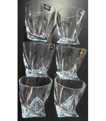 QUADRO Whiskey poháre 6 ks set Bohemia Crystalite