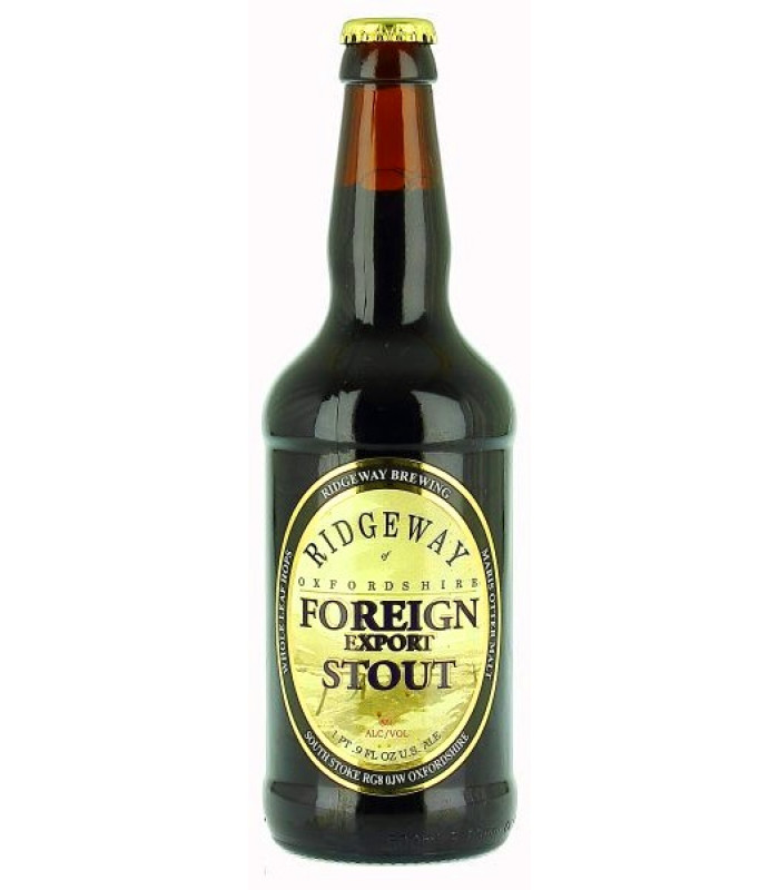 RIDGEWAY Oxfordshire Foreign Export Stout beer - pivo whole leaf hops , obj. 0,5 L, Alk. 8 % obj.